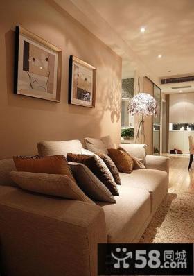 宜家简约客厅沙发墙装饰画效果图