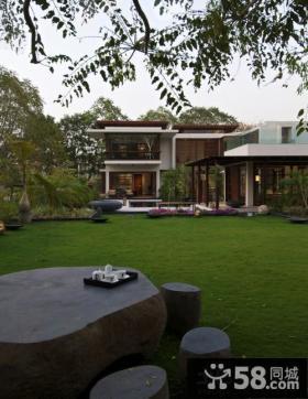 二层别墅庭院景观效果图