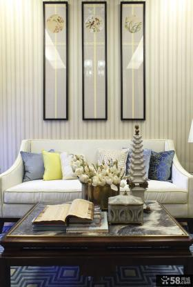 新中式风格复式房屋室内装修样板间效果图