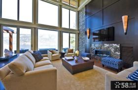 现代客厅电视背景墙造型设计
