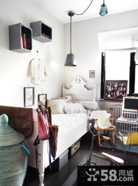 绝对简约清新含有现代元素的美式风格装修卧室图片