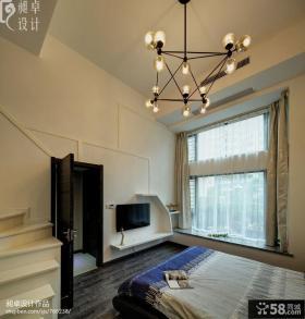 复式楼卧室电视背景墙效果图