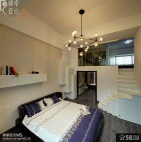 复式卧室床头壁纸背景墙效果图