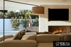 现代豪华别墅室内电视背景墙效果图