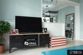地中海电视背景墙电视柜效果图