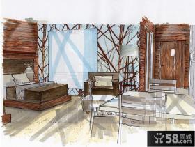 卧室室内设计手绘效果图片