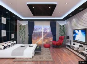 三室两厅简约大气的卧室电视背景墙装修效果图