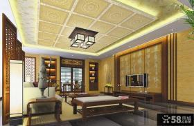 中式客厅集成吊顶装修效果图