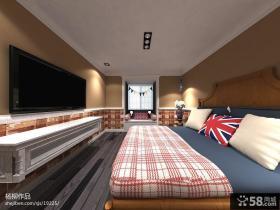现代主卧室电视背景墙设计效果图