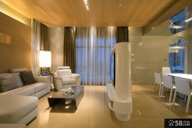 现代简约风格别墅样板房客厅电视背景墙隔断装修效果图