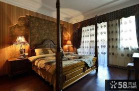 美式风格卧室壁纸背景墙装修效果图