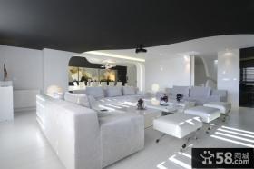白色简约的复式楼客厅装修效果图大全2014图片