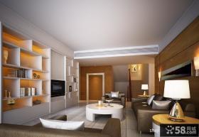 三室两厅两卫装修效果图 客厅电视背景墙收纳柜装修