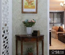 美式风格装修玄关桌墙纸图片