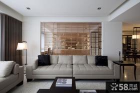 简约客厅玻璃背景墙装饰效果图片