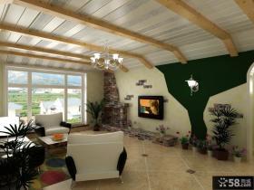 田园风格客厅电视背景墙装修案例
