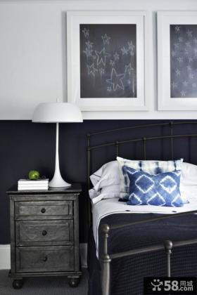 简欧黑白色风格卧室床头柜图片