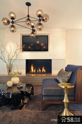 欧式现代客厅壁炉效果图