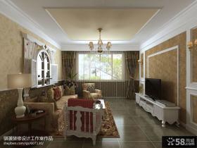 欧式田园风格客厅电视背景墙壁纸装修效果图
