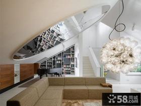 现代时尚复式家居客厅设计装修效果图
