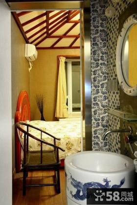 美式风格卧室卫生间青花瓷墙面装修效果图