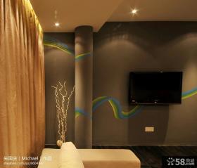 客厅手绘电视背景墙装修设计