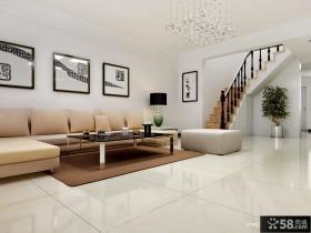 简欧风格复式楼沙发背景墙装修效果图