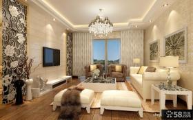 客厅雕花与大理石相结合的电视背景墙效果图