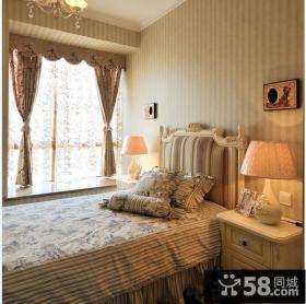 简装修卧室飘窗窗帘布艺图片