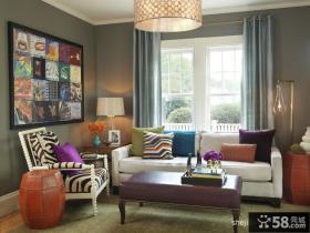 现代风格客厅背景墙装修效果图 80后夫妻的小情调家居