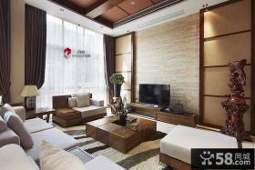日式风格别墅客厅电视背景墙效果图
