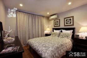 美式风格卧室落地窗帘效果图