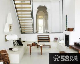 复式楼白色简约客厅装修效果图欣赏