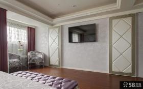 现代卧室电视背景墙效果图片