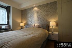 简约风格卧室床头壁纸背景墙效果图