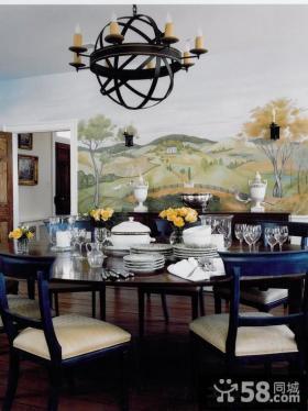 法式风格餐厅室内装饰壁画效果图