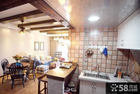 美式乡村风格室内厨房吊顶装修