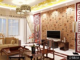 新中式客厅电视背景墙装修效果图