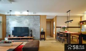 日式家居风格客厅简易背景墙装修图片