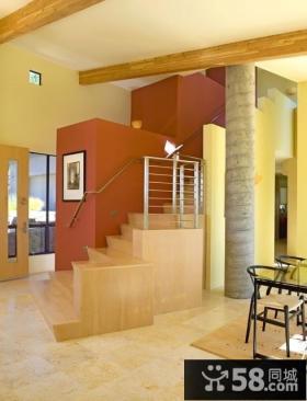 黄色调小复式楼梯装修效果图大全2012优质案例
