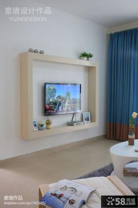 简约时尚电视机背景墙图片