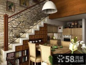 美式简约风格室内阁楼楼梯装修效果图