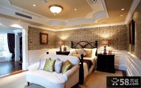 古典欧式风格别墅卧室吊顶装修效果图