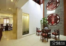 中式别墅餐厅背景墙装修效果图