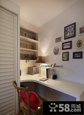 美式简约风格书房设计装修效果图