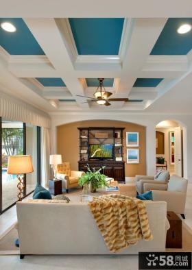 别墅客厅家装吊顶设计效果图