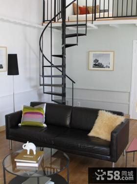 现代客厅旋转楼梯图片