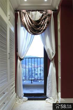 白色欧式阳台窗帘装饰设计
