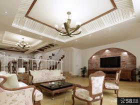 地中海风格客厅装修效果图 客厅电视背景墙吊顶效果图