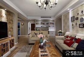 家居美式设计客厅吊顶图片